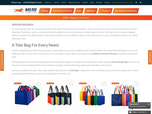 Printed Non Woven Bags Perth and Bulk Tote Bags Australia – Mad Dog Promotions