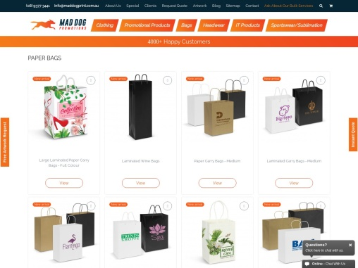 Custom Printed Laminated Paper Bags in Australia – Mad Dog Promotions