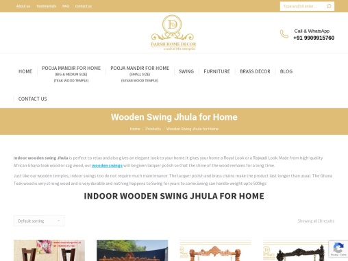 Indoor Wooden Swing Jhula for Home in USA, Aus & India | MA Enterprise