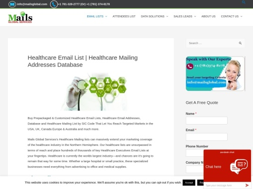 Healthcare Email Lists | Healthcare Mailing Lists | Mails Global Services