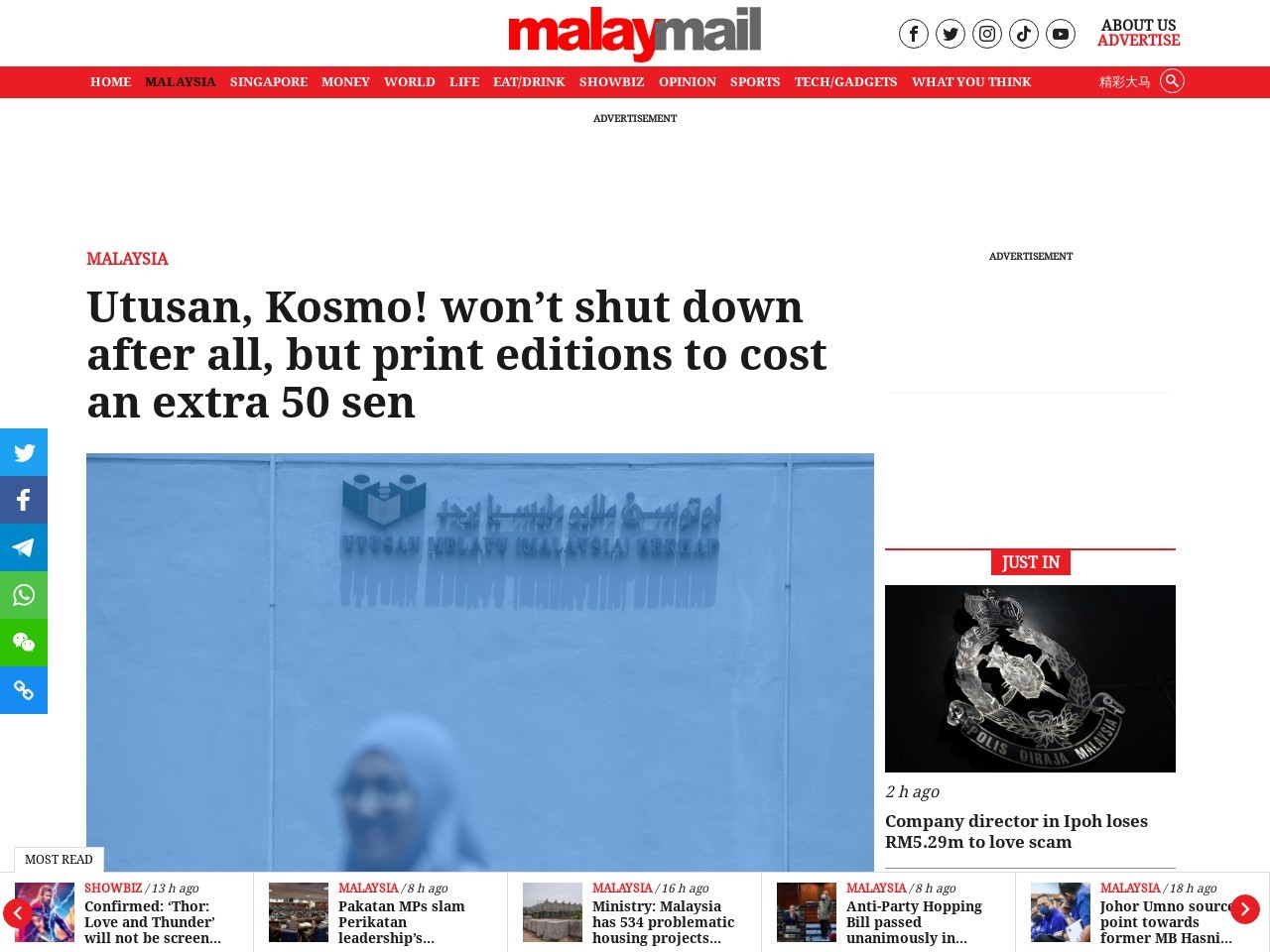 Utusan, Kosmo! won't shut down after all, but print editions to cost…