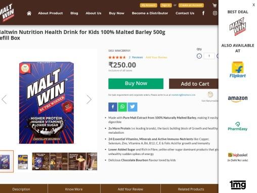 Maltwin Nutrition Health Drink for Kids – 100% Malted Barley, Higher Protein, Active Immuno-Nutrient
