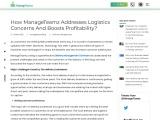 How ManageTeamz Addresses Logistics Concerns And Boosts Profitability?