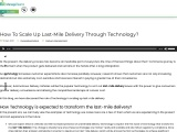 How To Scale Up Last-Mile Delivery Through Technology?