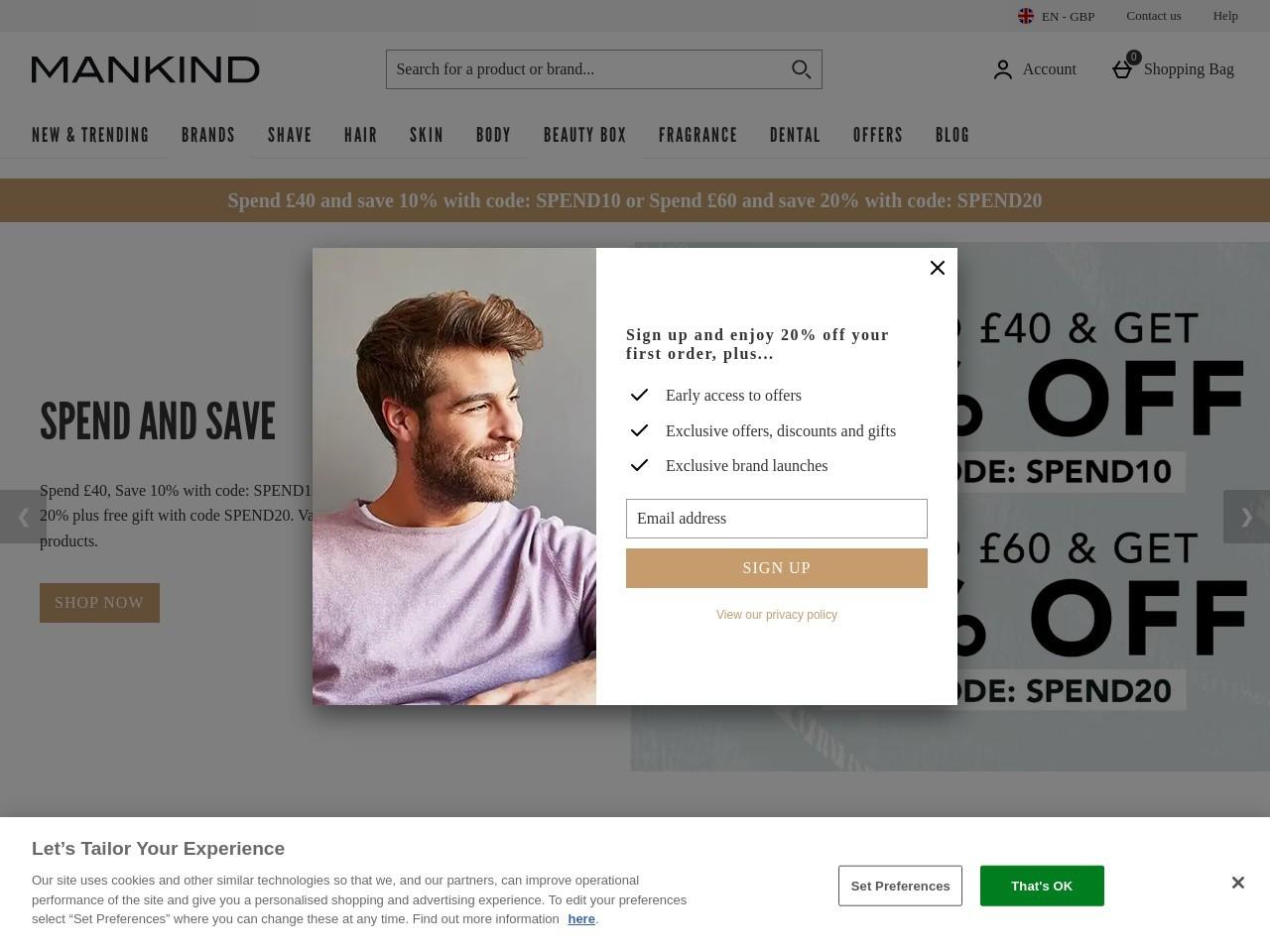 英國男性保養品牌購物網站 MANKIND
