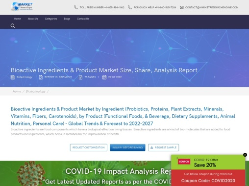 Bioactive Ingredients & Product Market Share