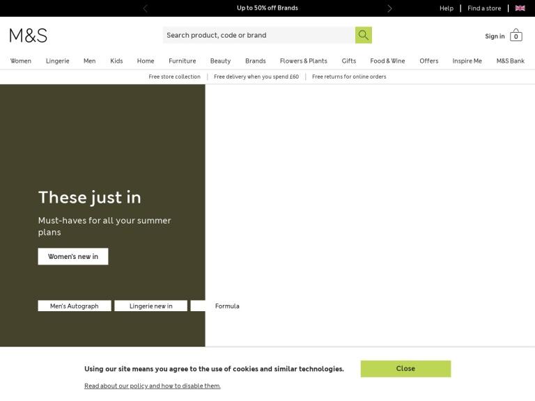 Marks & Spencer Promotion Codes screenshot