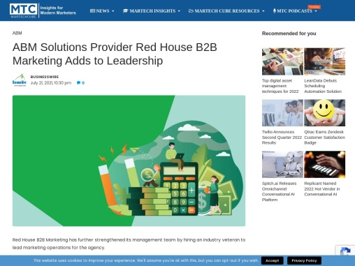 ABM Solutions Provider Red House B2B Marketing Adds to Leadership