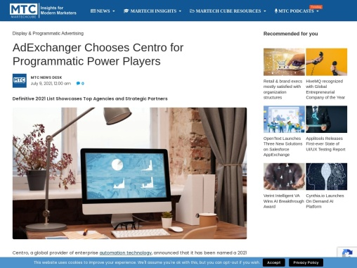 AdExchanger Chooses Centro for Programmatic Power Players
