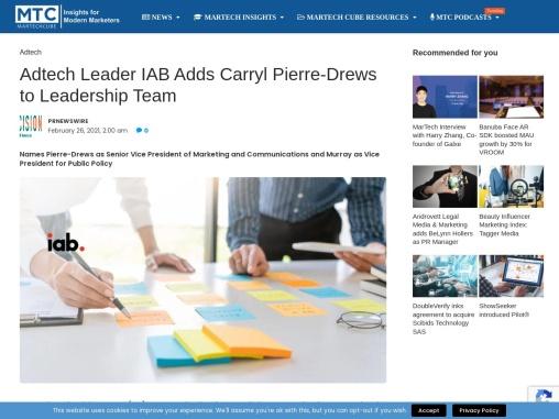 Adtech Leader IAB Adds Carryl Pierre-Drews to Leadership Team