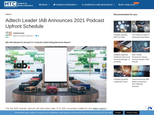 Adtech Leader IAB Announces 2021 Podcast Upfront Schedule