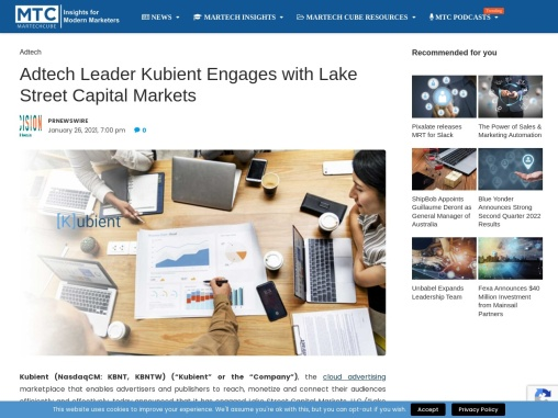 Adtech Leader Kubient Engages with Lake Street Capital Markets