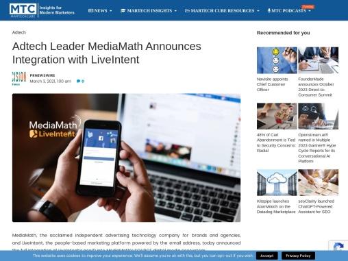 Adtech Leader MediaMath Announces Integration with LiveIntent