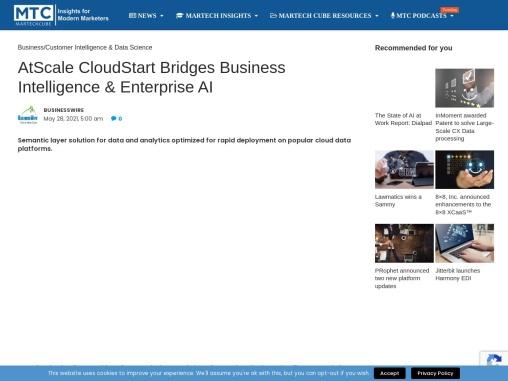 AtScale CloudStart Bridges Business Intelligence & Enterprise AI