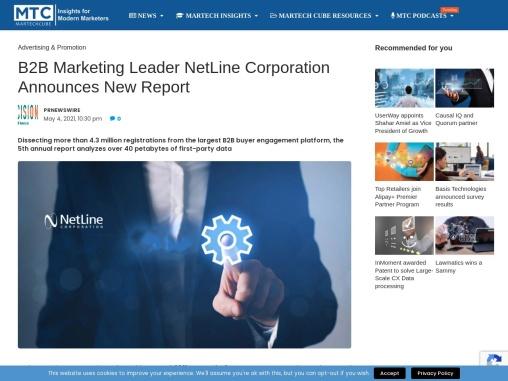 B2B Marketing Leader NetLine Corporation Announces New Report