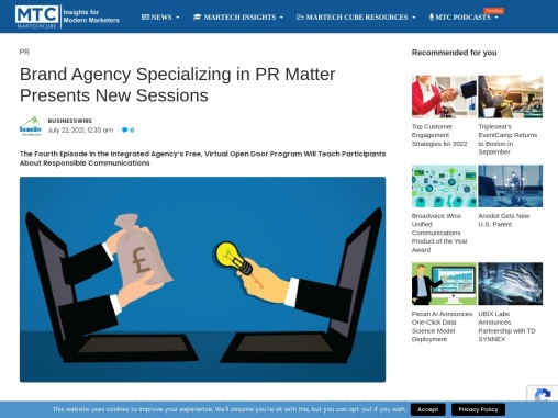 Brand Agency Specializing in PR Matter Presents New Sessions