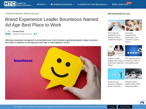Brand Experience Leader Bounteous Named Ad Age Best Place to Work
