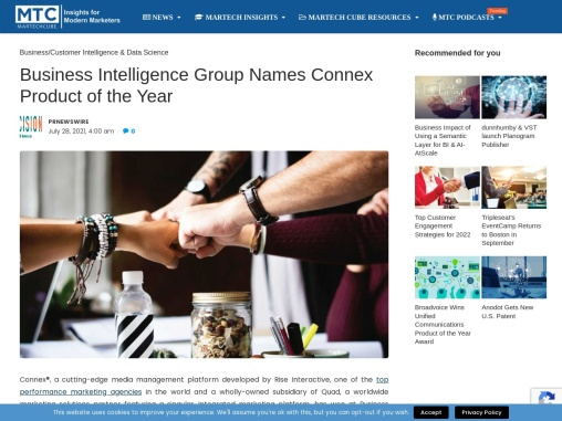 Business Intelligence Group Names Connex Product of the Year