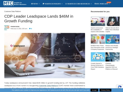 CDP Leader Leadspace Lands $46M in Growth Funding