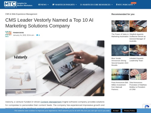 CMS Leader Vestorly Named a Top 10 AI Marketing Solutions Company