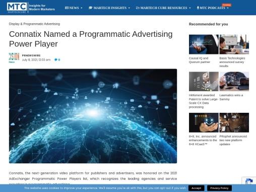 Connatix Named a Programmatic Advertising Power Player