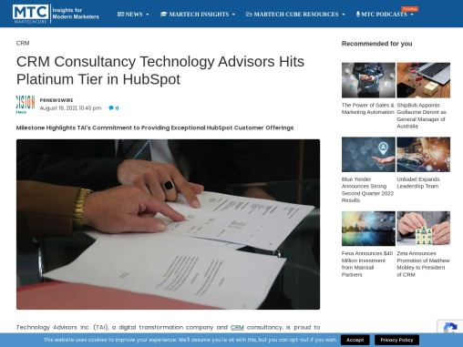 CRM Consultancy Technology Advisors Hits Platinum Tier in HubSpot