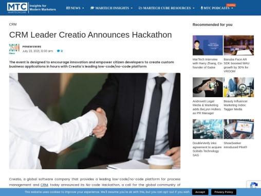 CRM Leader Creatio Announces Hackathon