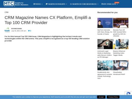 CRM Magazine Names CX Platform, Emplifi a Top 100 CRM Provider