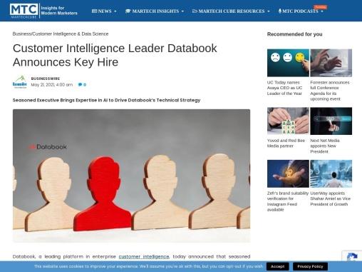 Customer Intelligence Leader Databook Announces Key Hire
