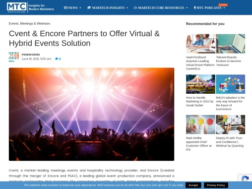 Cvent & Encore Partners to Offer Virtual & Hybrid Events Solution