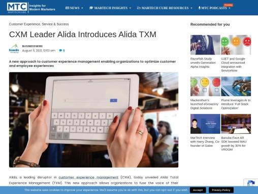CXM Leader Alida Introduces Alida TXM