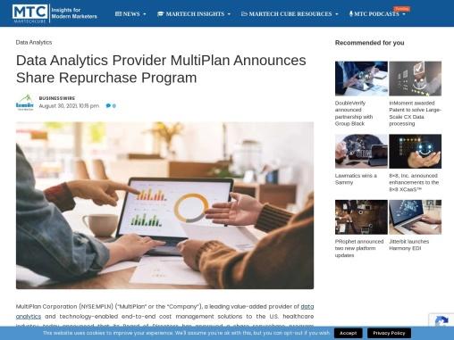 Data Analytics Provider MultiPlan Announces Share Repurchase Program