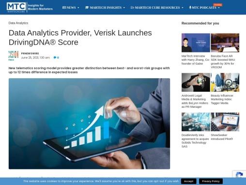 Data Analytics Provider, Verisk Launches DrivingDNA® Score