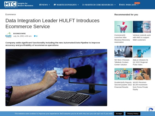 Data Integration Leader HULFT Introduces Ecommerce Service