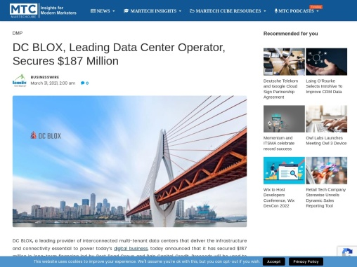 DC BLOX, Leading Data Center Operator, Secures $187 Million