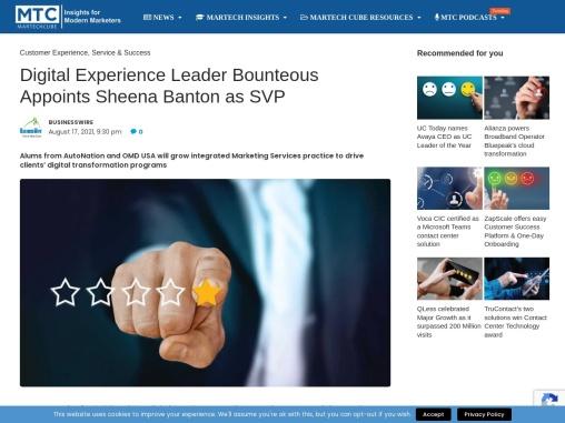Digital Experience Leader Bounteous Appoints Sheena Banton as SVP