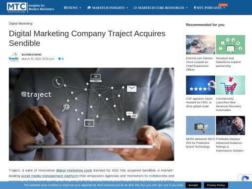 Digital Marketing Company Traject Acquires Sendible