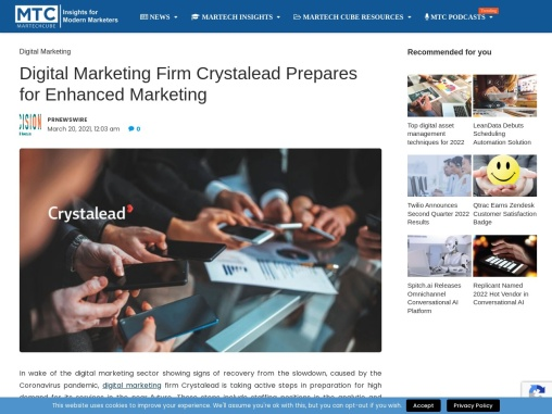 Digital Marketing Firm Crystalead Prepares for Enhanced Marketing