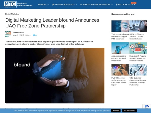 Digital Marketing Leader bfound Announces UAQ Free Zone Partnership