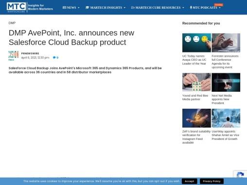 DMP AvePoint, Inc. announces new Salesforce Cloud Backup product