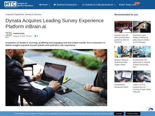 Dynata Acquires Leading Survey Experience Platform inBrain.ai