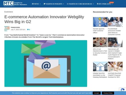 E-commerce Automation Innovator Webgility Wins Big in G2