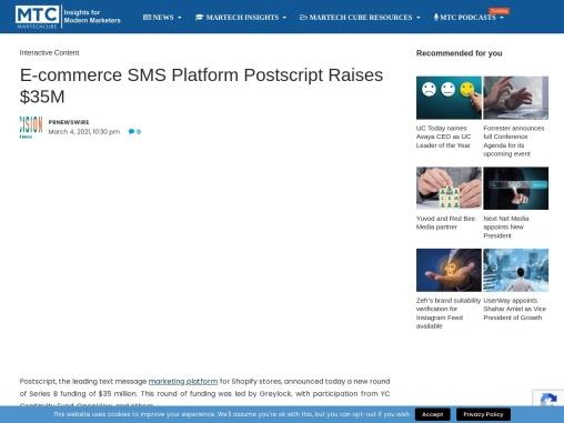 E-commerce SMS Platform Postscript Raises $35M