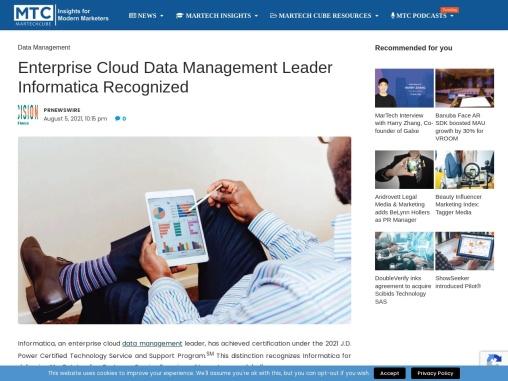Enterprise Cloud Data Management Leader Informatica Recognized