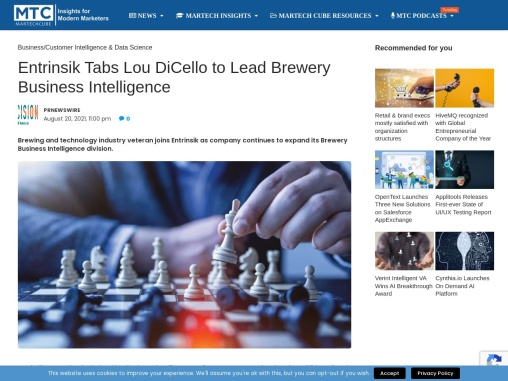 Entrinsik Tabs Lou DiCello to Lead Brewery Business Intelligence