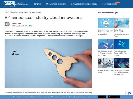 EY announces industry cloud innovations