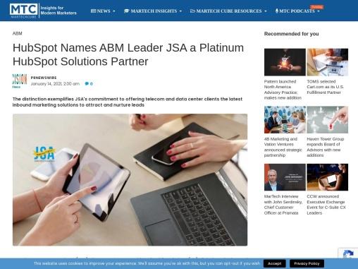 HubSpot Names ABM Leader JSA a Platinum HubSpot Solutions Partner