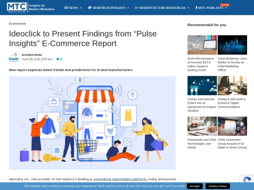 """Ideoclick to Present Findings from """"Pulse Insights"""" E-Commerce Report"""