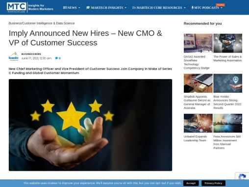 Imply Announced New Hires – New CMO & VP of Customer Success