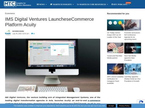 IMS Digital Ventures LauncheseCommerce Platform Acuity